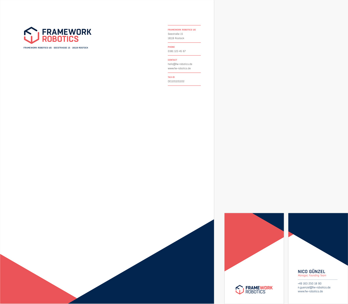 Das Bild zeigt das finale Design der Geschäftsausstattung für den Kunden FRAMEWORK Robotics. Die Geschäftsausstattung beinhaltet Briefbogen und Visitenkarten.