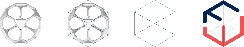 Das Bild zeigt die stufenweise Designentwicklung des Logos für den Kunden FRAMEWORK Robotics.