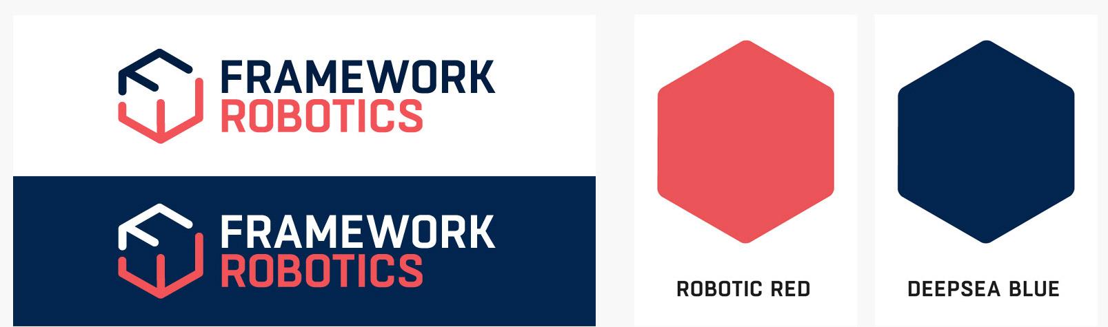 Das Bild zeigt zwei farbliche Varianten des Logos für den Kunden FRAMEWORK Robotics. Die Wort-Bildmarke steht dabei einmal auf der Corporate Color »Deep Sea Blue« und einmal auf weiß. Das Design des Logos ist so definiert, dass die zweite Corporate Farbe »Robotic Red« immer verwendet wird, unabhängig vom Untergrund.