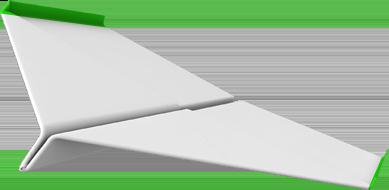 Sinnbild für Technologieunternehmen aus dem Mittelstand, also die Kernzielgruppe der Design- und Markenagentur 40knots. Das Bild zeigt ein 3D Rendering eines Papierfliegers. Zusammen mit dem Bild des Ventilators ergibt sich die Darstellung des Claims der Agentur: Rückenwind für Technikunternehmen.