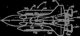 Sinnbild für die strategische Vorgehensweise bei Aufbau und Entwicklung einer Marke. Das Bild zeigt eine technische Zeichnung eines Space Shuttles in der Aufsicht.