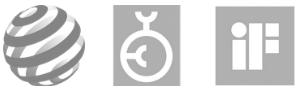 Das Bild zeigt das Logo des Designpreis der Bundesrepublik Deutschland, des Red Dot Design Award sowie des IF Design Award. Die Markenagentur 40knots wurde mit diesen Preisen ausgezeichnet.